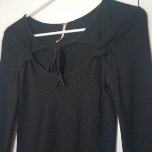 Free People Black Long Sleeve Shirt